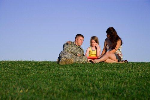 Veteran family on grass